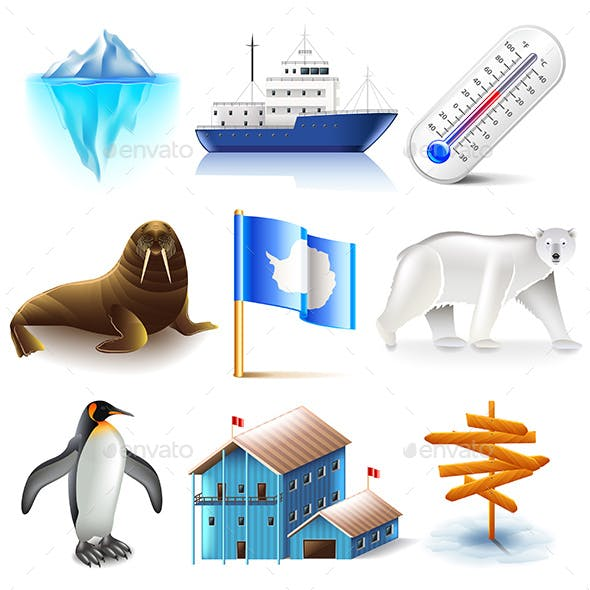 Antarctica Icons Set