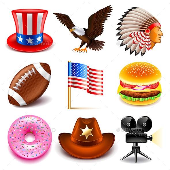 USA Icons Set - Travel Conceptual