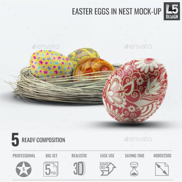 Easter Eggs in Nest Mock-Up