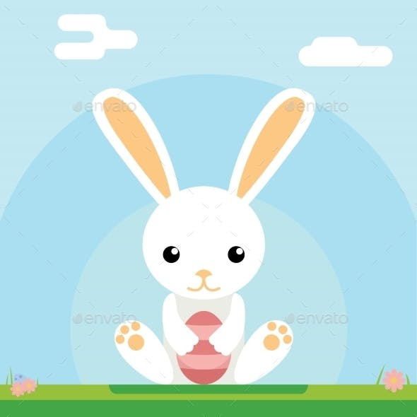 Easter Bunny Holds Egg