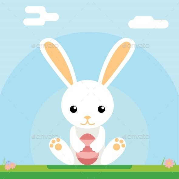 Easter Bunny Holds Egg - Animals Characters