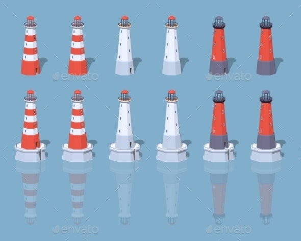 Low Poly Lighthouses - Buildings Objects