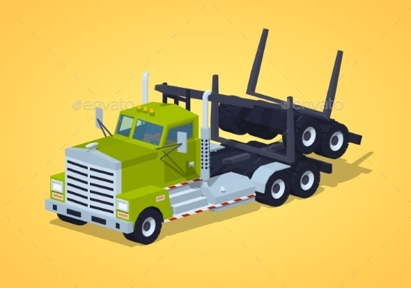 Low Poly Folded Log Truck - Man-made Objects Objects
