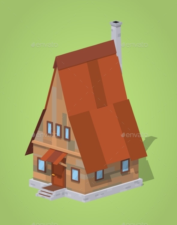 Low Poly A-Frame Wooden House - Buildings Objects