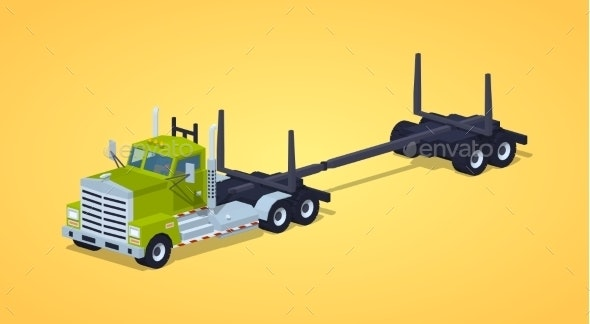 Low Poly Empty Log Truck - Man-made Objects Objects