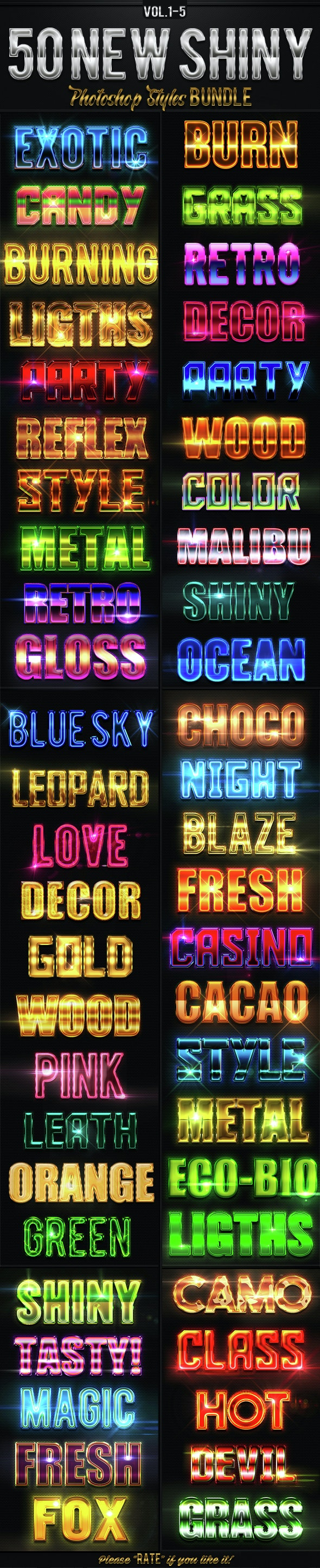 50 New Shiny Photoshop Styles Bundle - Text Effects Styles