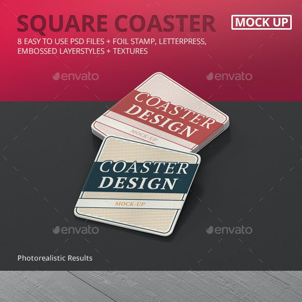 Square Coaster Mock-Up Round Corner