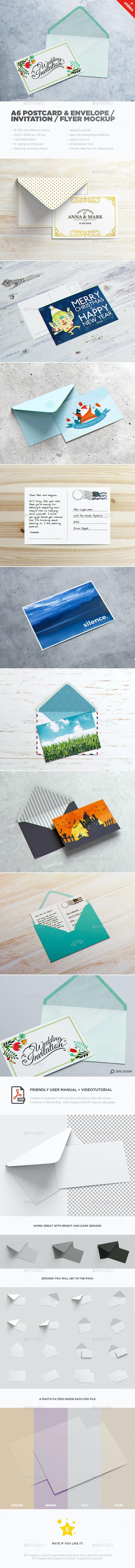A6 Postcard & Envelope / Invitation / Flyer MockUp - Miscellaneous Print