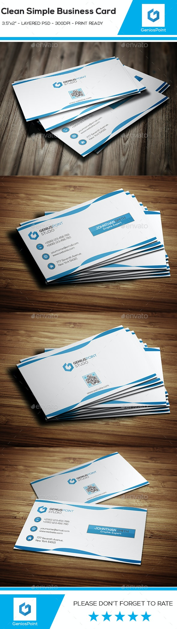 Clean Simple Business Card - Business Cards Print Templates
