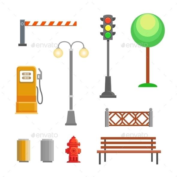 Street Element Icons Set - Miscellaneous Vectors