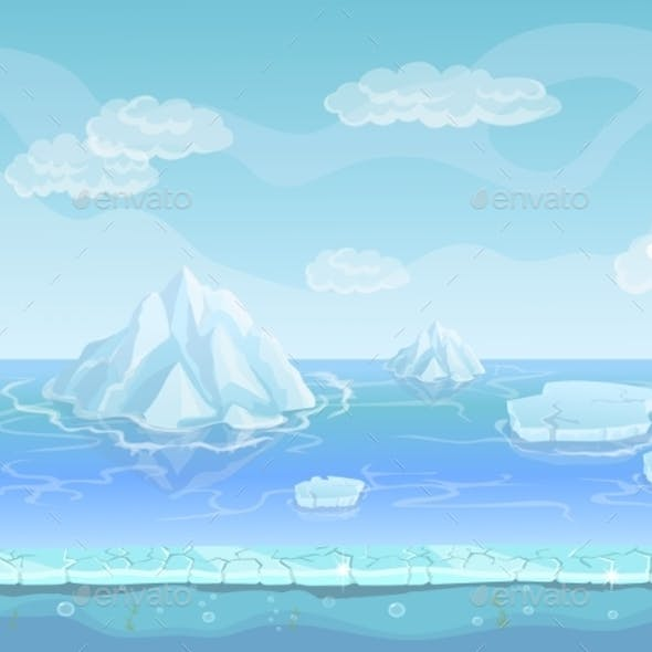 Cartoon Winter Landscape with Iceberg Seamless