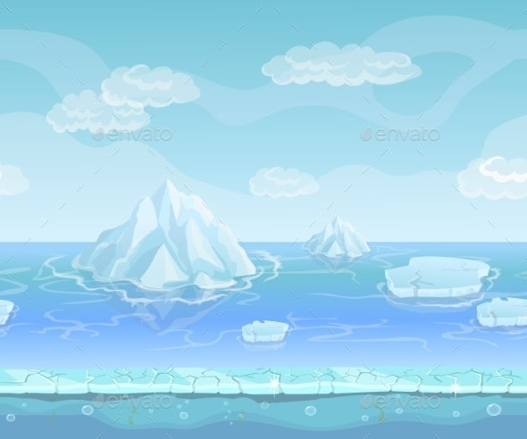 Cartoon Winter Landscape with Iceberg Seamless - Landscapes Nature