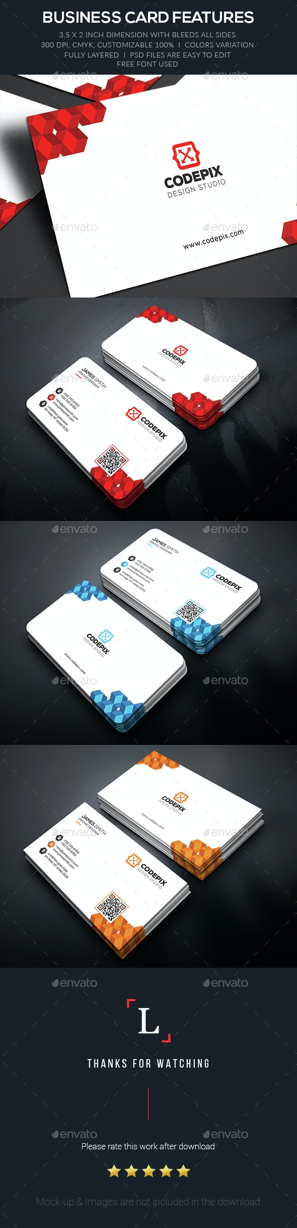 Color Corporate Business Card - Business Cards Print Templates