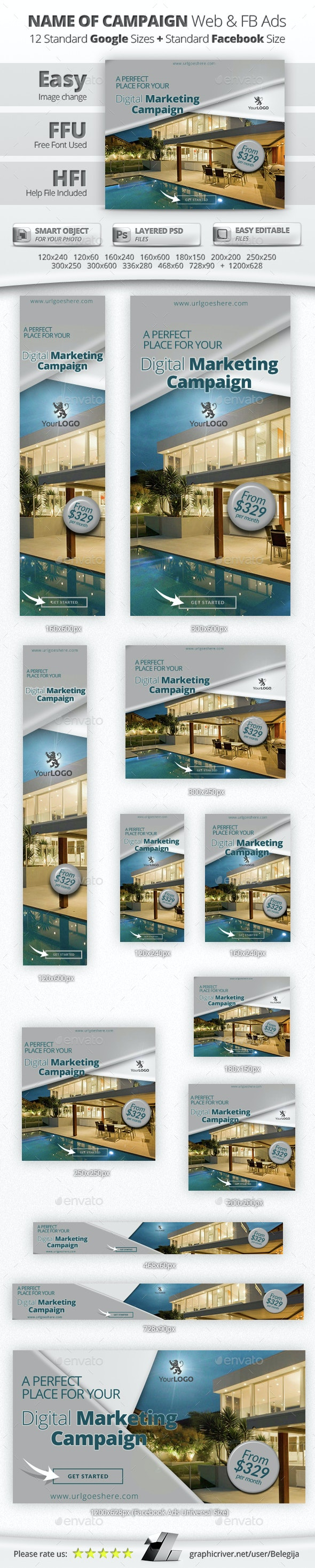 Real Estate Web & Facebook Banners/Ads - Banners & Ads Web Elements