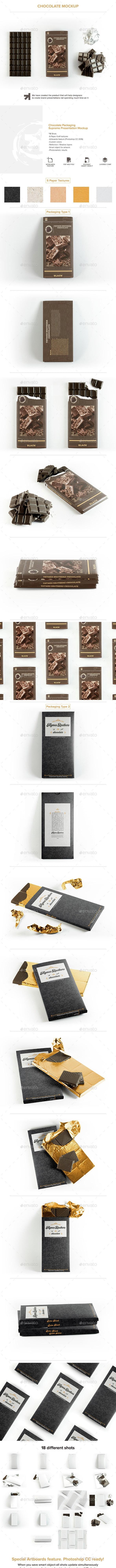 Chocolate Bar Packaging Mockup - Food and Drink Packaging