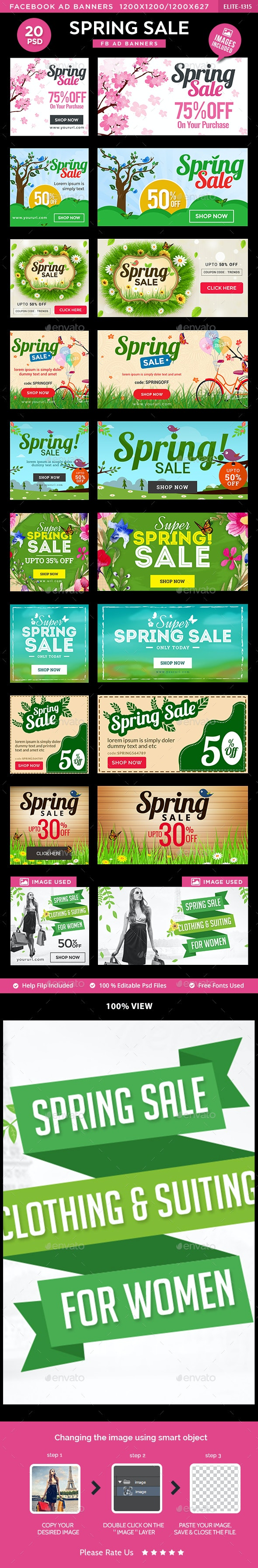 Spring Sale Facebook Banners - 10 Designs - 20 Banners - Social Media Web Elements