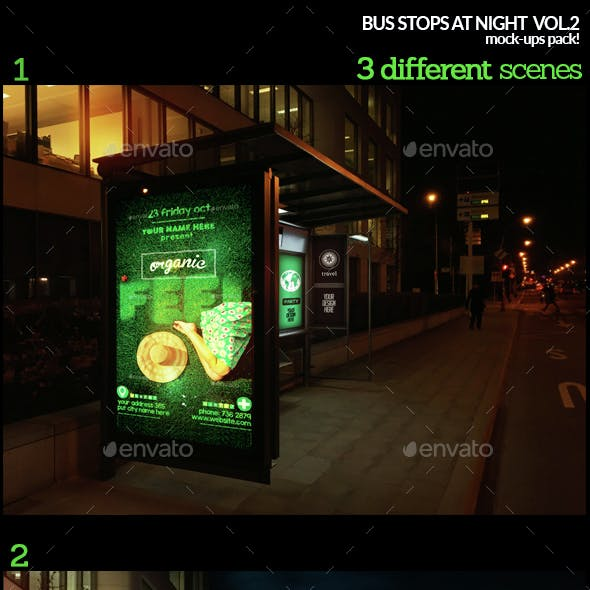 Bus Stops At Night Vol.2 Mock-Ups Pack