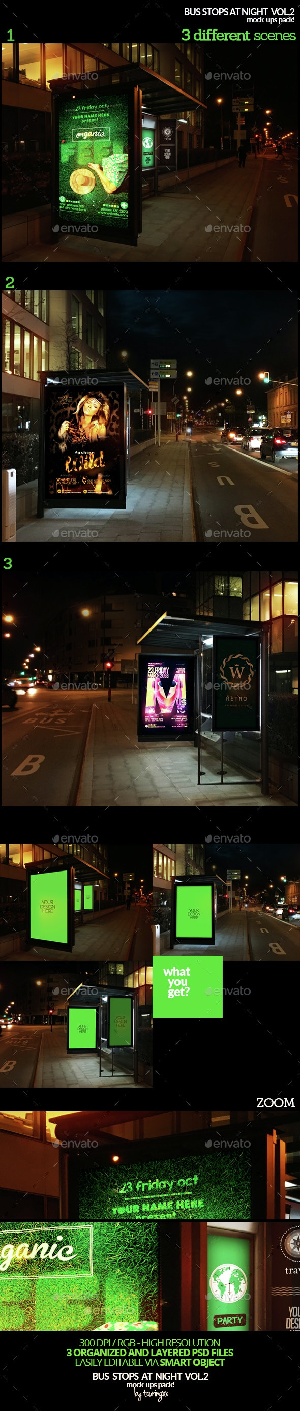 Bus Stops At Night Vol.2 Mock-Ups Pack - Product Mock-Ups Graphics