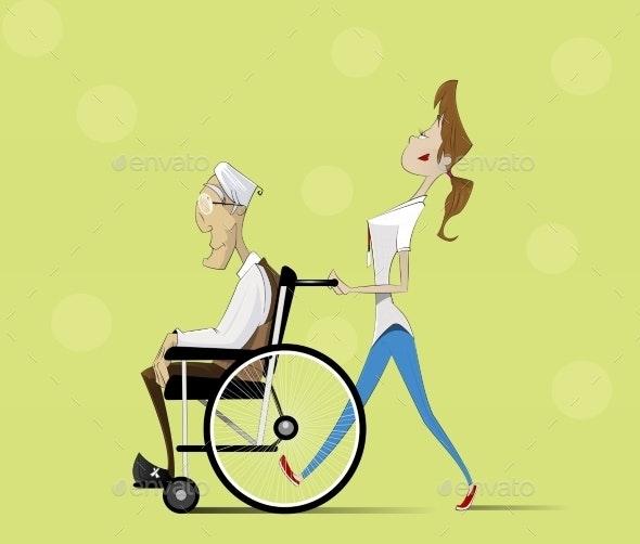 Social Worker and Elder Man in Wheelchair - Health/Medicine Conceptual