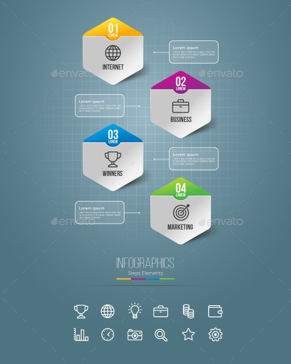 Business Infographics Steps Elements - Infographics