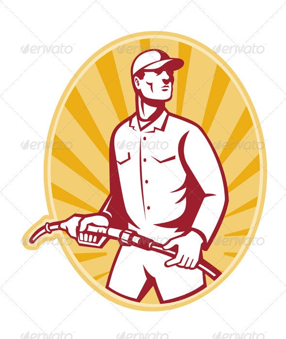 Gas Jockey With Petrol Pump Nozzle Retro - People Characters