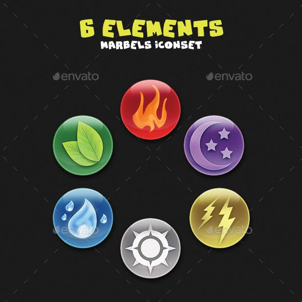 Game Assets - 6 Element Marbles