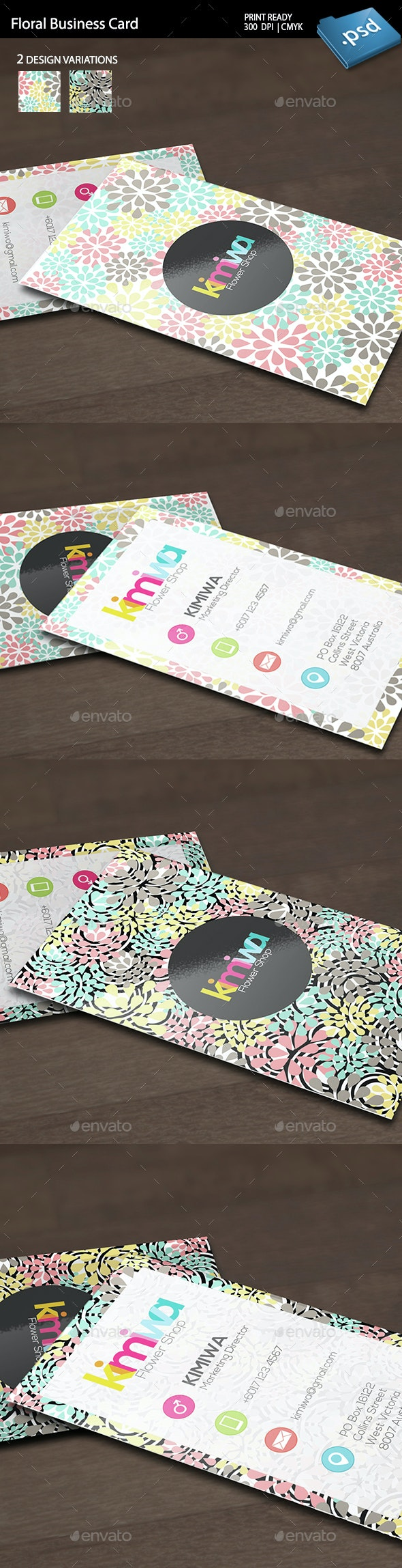 Floral Business Card Template - Business Cards Print Templates