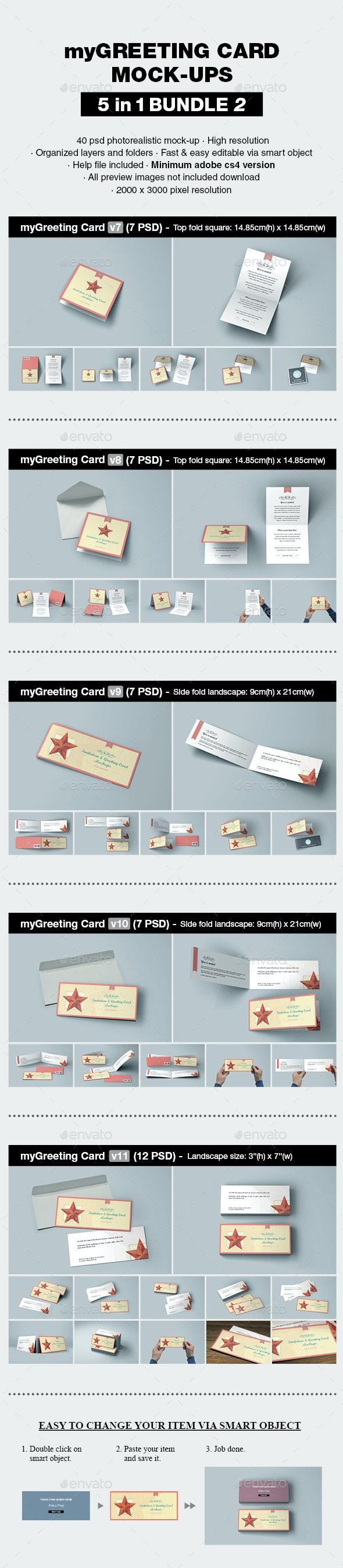 myGreeting Card Mock-up Bundle 2 - Print Product Mock-Ups