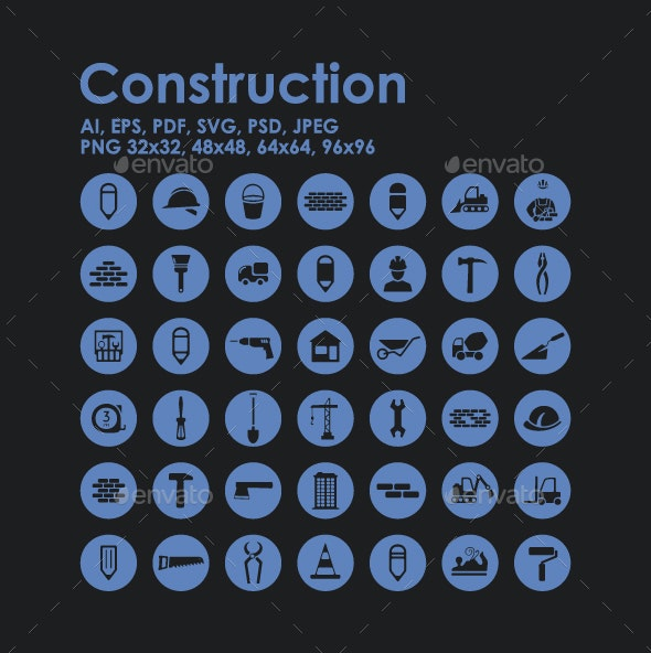 42 Construction icons - Buildings Objects