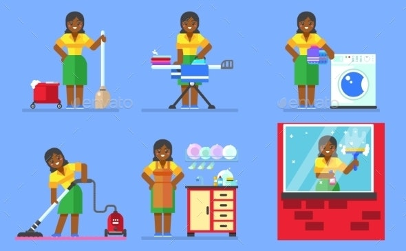 Woman Washing and Cleaning Household Series - Concepts Business