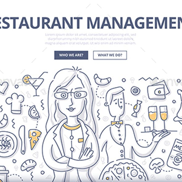 Restaurant Management Doodle Concept