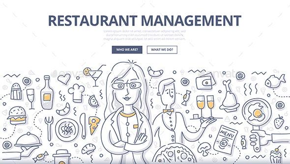 Restaurant Management Doodle Concept - Concepts Business