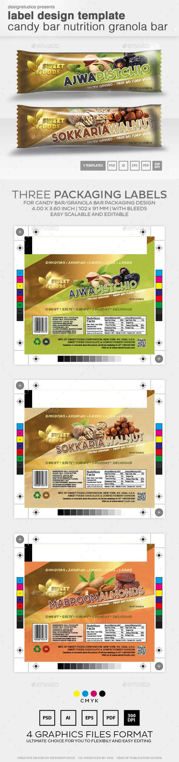 Label Design Template Candy Bar Nutrition Granola Bar - Packaging Print Templates