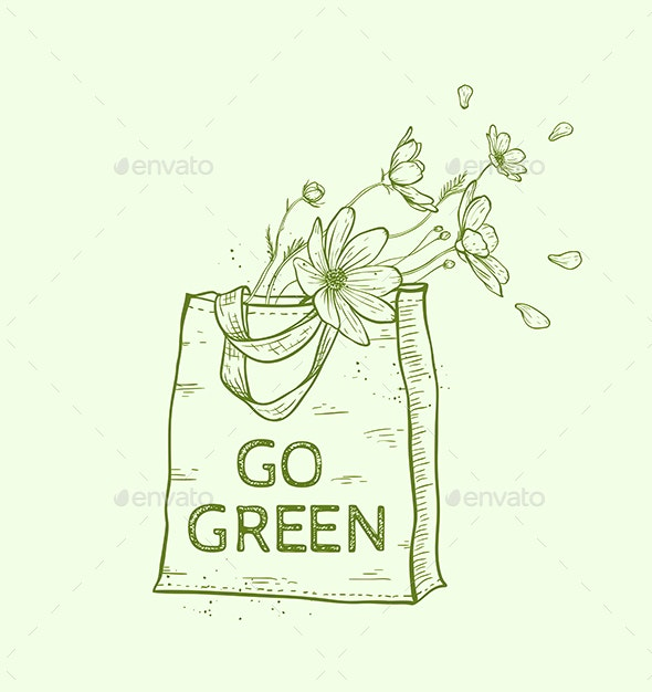 Shopping Bag with Flowers - Organic Objects Objects
