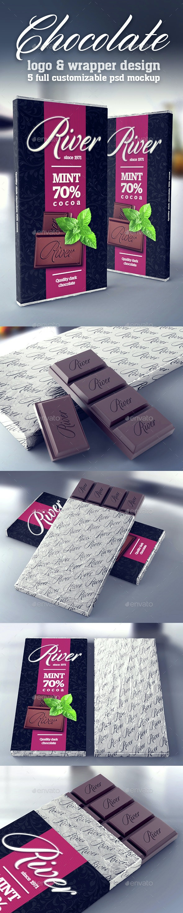 Chocolate Wrapper & Logo Mockup - Food and Drink Packaging