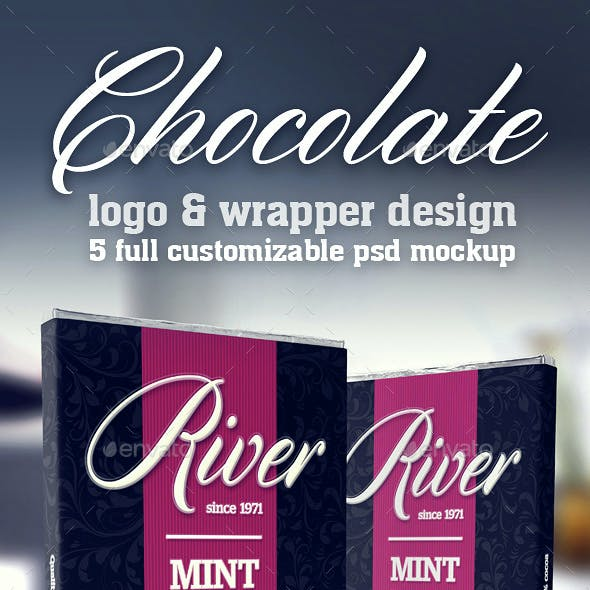 Chocolate Wrapper & Logo Mockup