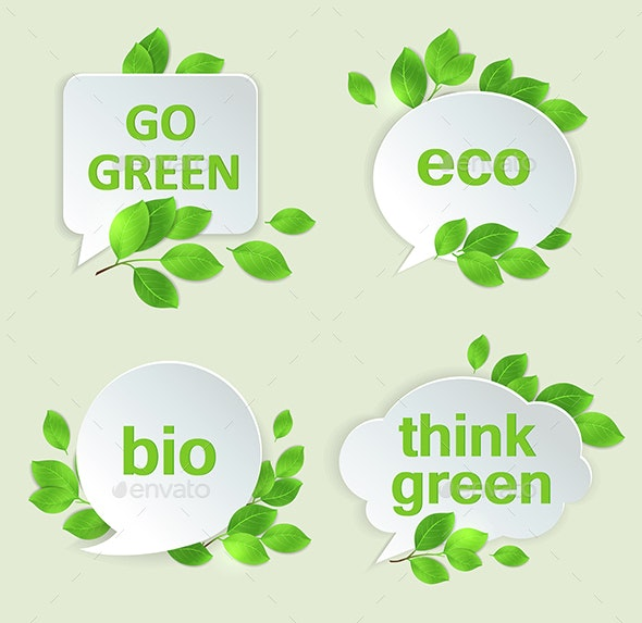 Eco Labels with Green Leaves - Miscellaneous Vectors