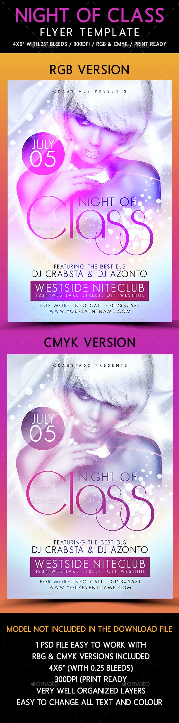 Night of Class Flyer Template - Flyers Print Templates