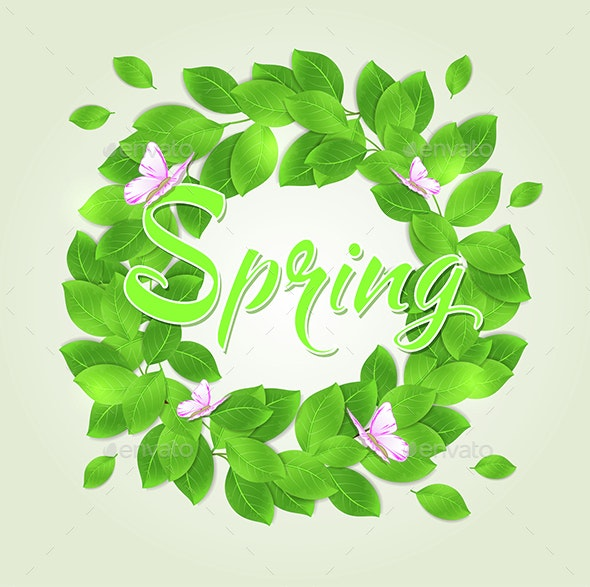 Round Floral Frame with Green Leaves - Seasons Nature