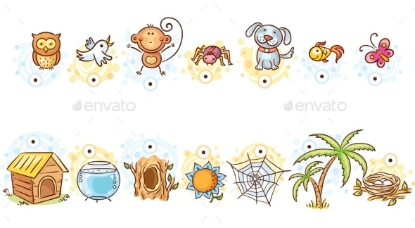 Animals and Their Homes Matching Game - Miscellaneous Vectors