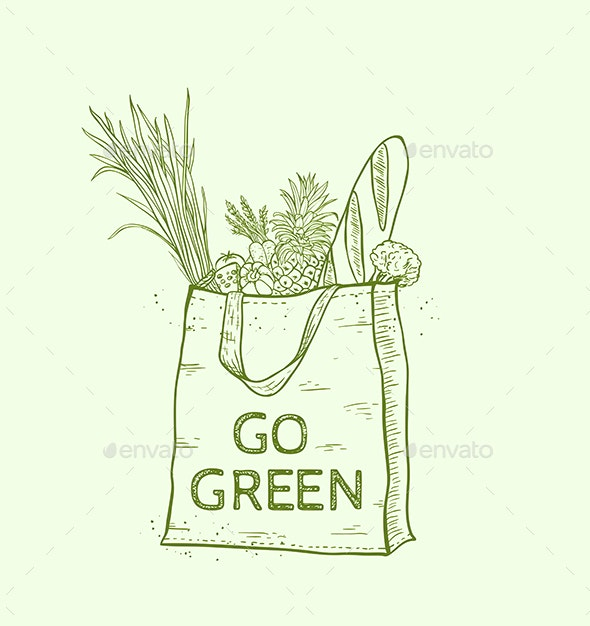 Eco Bag with Fresh Food - Food Objects