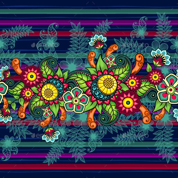 Seamless Floral Banner Bright Colors - Patterns Decorative