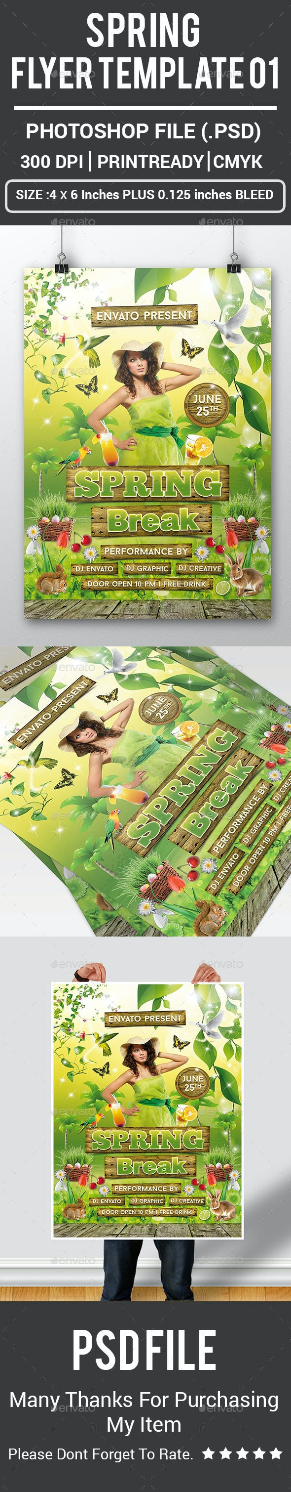 Spring Flyer Template 01 - Clubs & Parties Events
