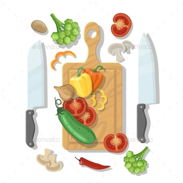 Cutting Board and Vegetables Cooking Card Poster - Food Objects