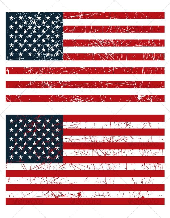 Grunge US Flags - Decorative Vectors