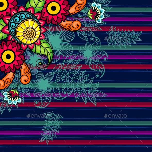Blue Floral Striped Background - Patterns Decorative