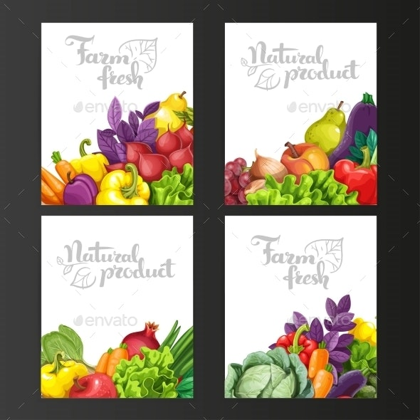 Four Vertical Banners with Fresh Fruits - Food Objects