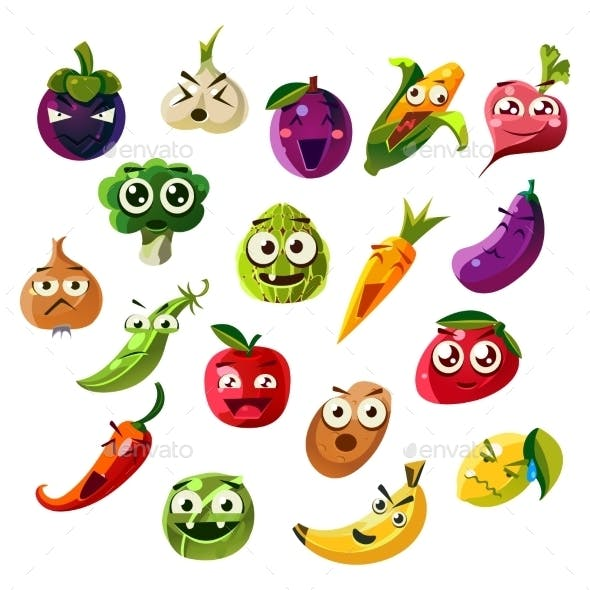 Fruit Ands Vegetable Emoji Set