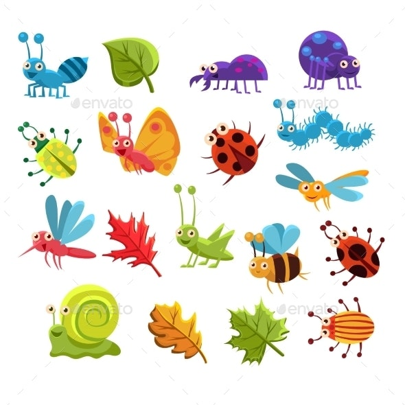 Insect And Leaves Collection - Animals Characters