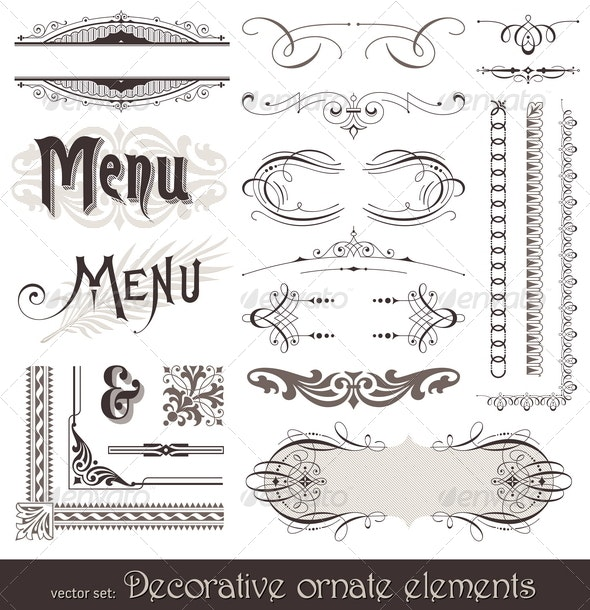 Ornate Design Elements & Calligraphic Page Decor - Decorative Vectors